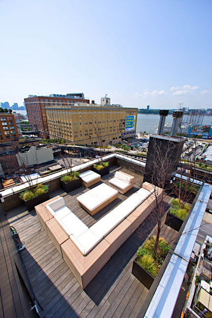 Photo of rooftop terrace in one of the modern New York penthouses