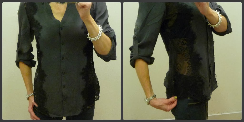 Express lace portofino, shirt, convertible sleeve blouse, top, grey blouse, black lace