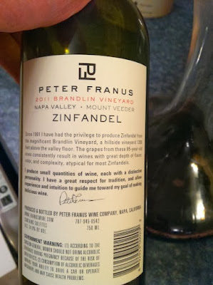 back label of 2011 Peter Franus Napa Zinfandel