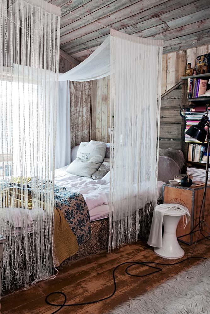 Diseño interior Upcycling en una casa de Noruega - dormitorio de paja