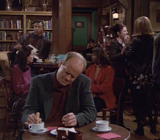Frasier contemplates, Daphne doesn't.