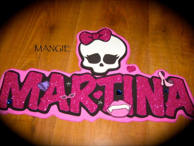 Letrero nombre purpurina monster high