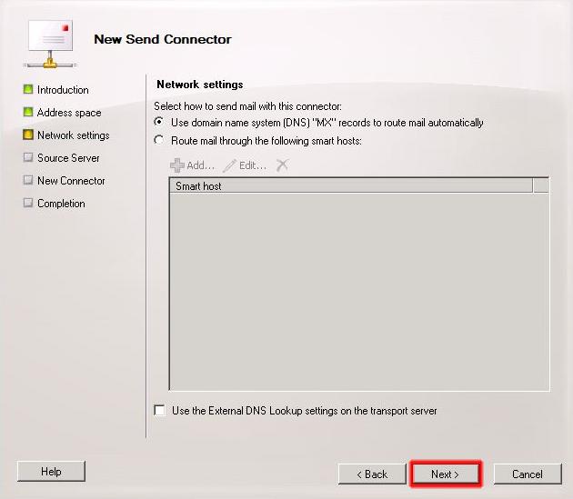 apartado Network settings del asistente conector de envío.