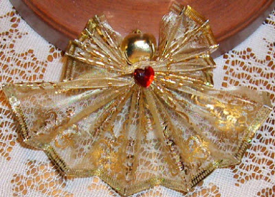 Fan folded wire ribbon angels 6