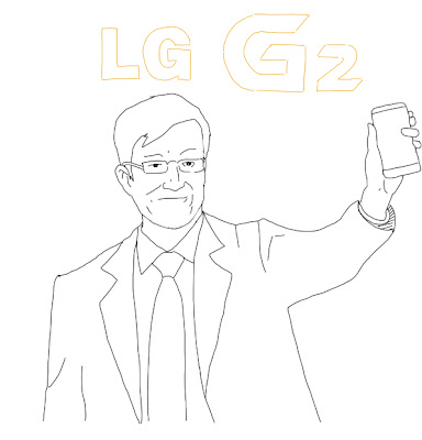 LG CEO holding the G2