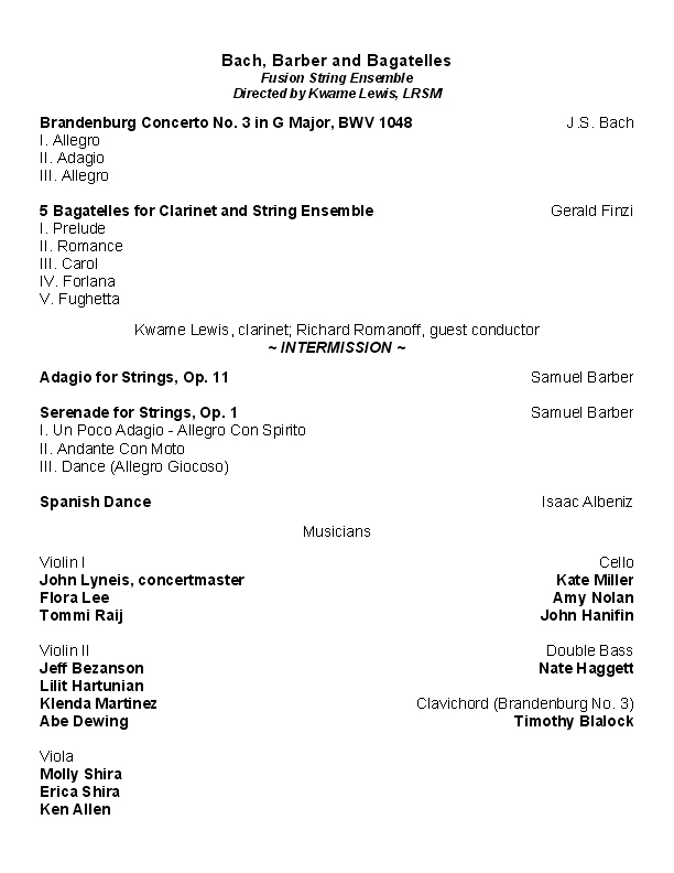 Fusion String Ensemble Bach Barber  Bagatelles  Digital Concert