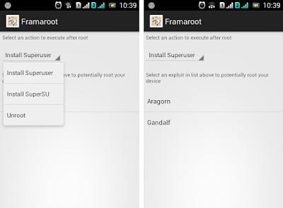 Tampilan aplikasi Framroot