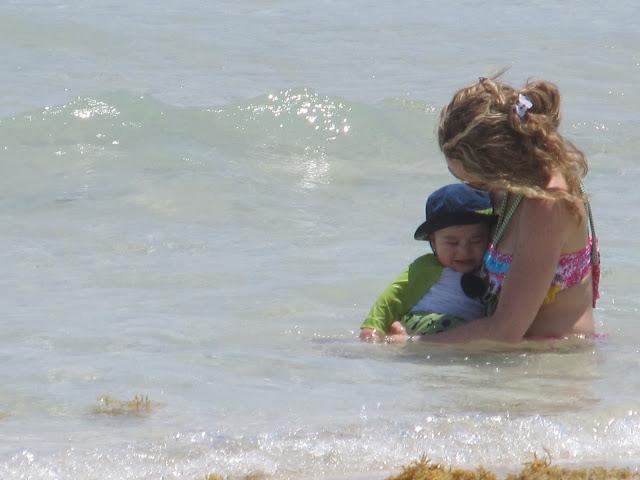 mother,baby,beach