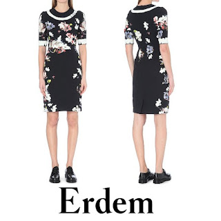 ERDEM Ivy Floral Print Stretch Crepe Dress