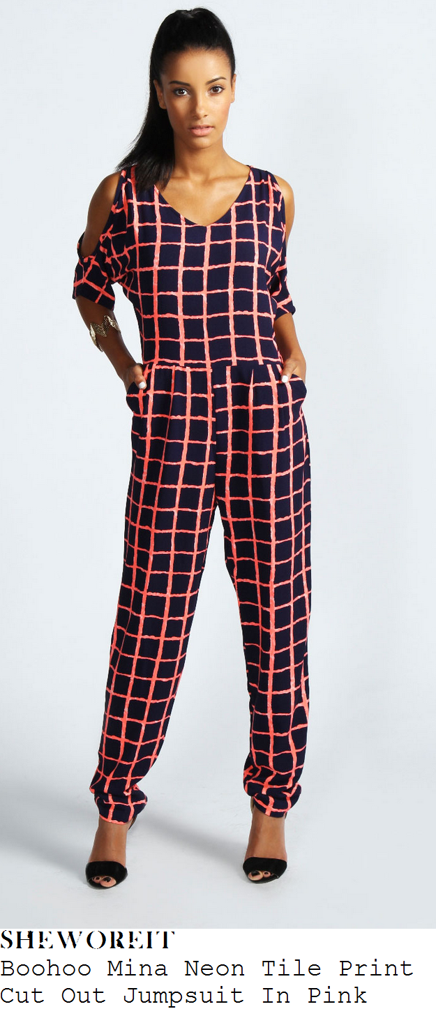 hannah-barrett-neon-pink-and-black-check-print-jumpsuit-x-factor