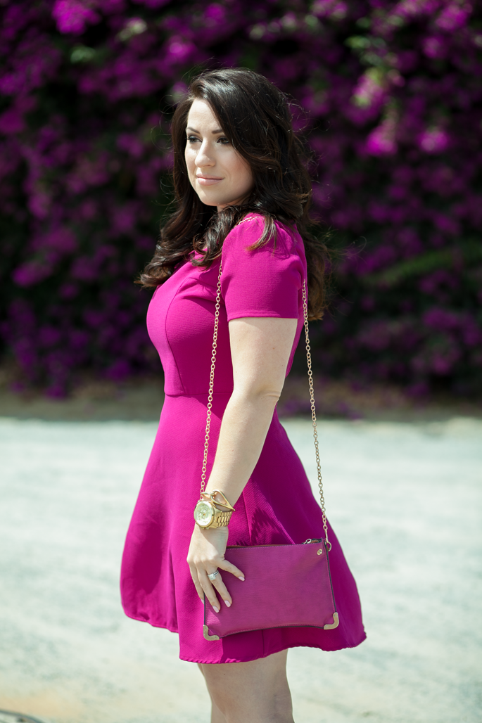 magenta dress, nude lipstick, le tote