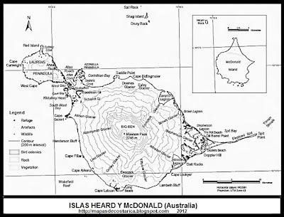 Mapa general de las islas Heard y McDonald, blanco y negro