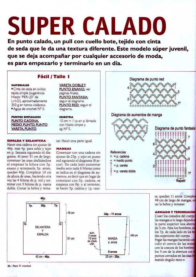Perfecto Patrón De Crochet Fácil Suéter Componente - Manta de Tejer ...