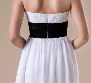 Attrayant blanc en mousseline de soie Robe de Soirée Noire Sash Femmes