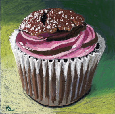 pink frosted cupcake pastel painting