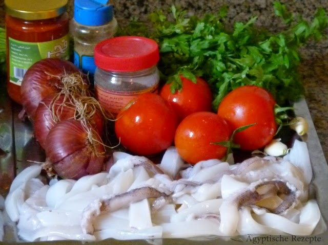 Ägyptische Rezepte Calamari Zutaten