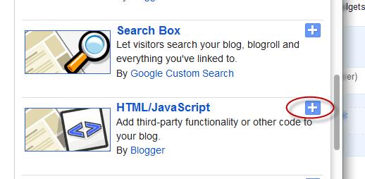 html / javascript, blogger gadget