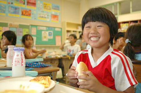 Japan Children eating what we call low level radioactive waste