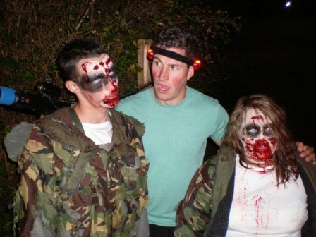Christopher Gottfried and two new friends at the Zombie Apocalypse in Hastings