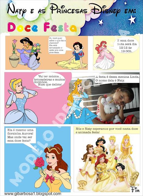 Convite Gibi Princesas festa aniversário infantil.