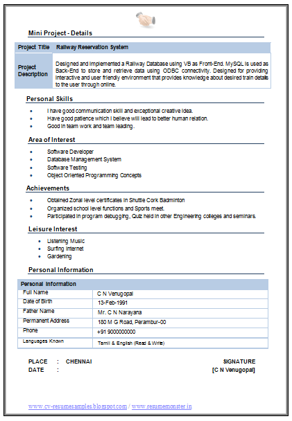 Sample Resume Format For Fresh Graduates Two Page Format Model ... cv format design cv templates cv samples example resume examples free cv