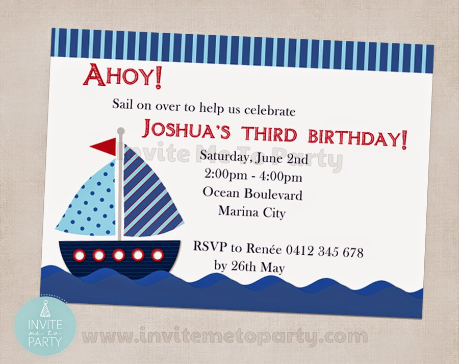 Invite Me To Party: Sailboat Birthday Party / Nautical Birthday Party