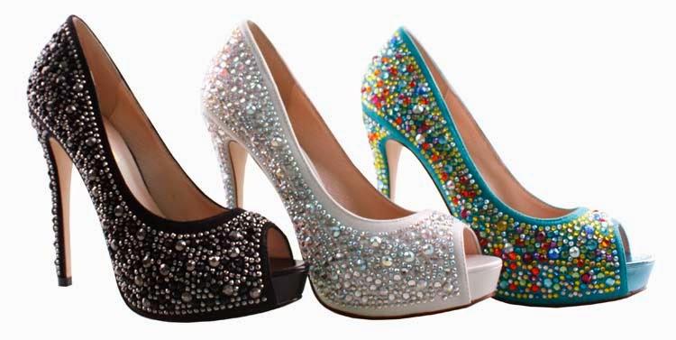 lauren lorraine candy jeweled rhintestone peep toe pumps