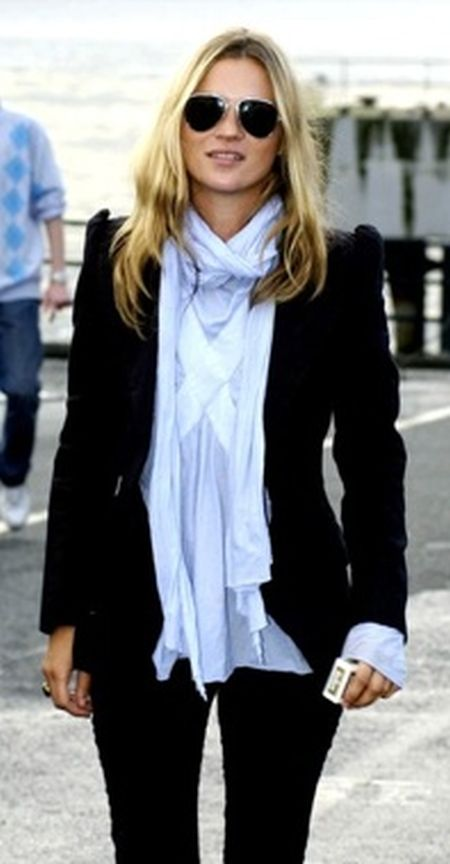Kate Moss stylish street style outfit with light blue scarf