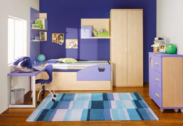 Desain kamar anak perempuan minimalis warna biru kombinasi