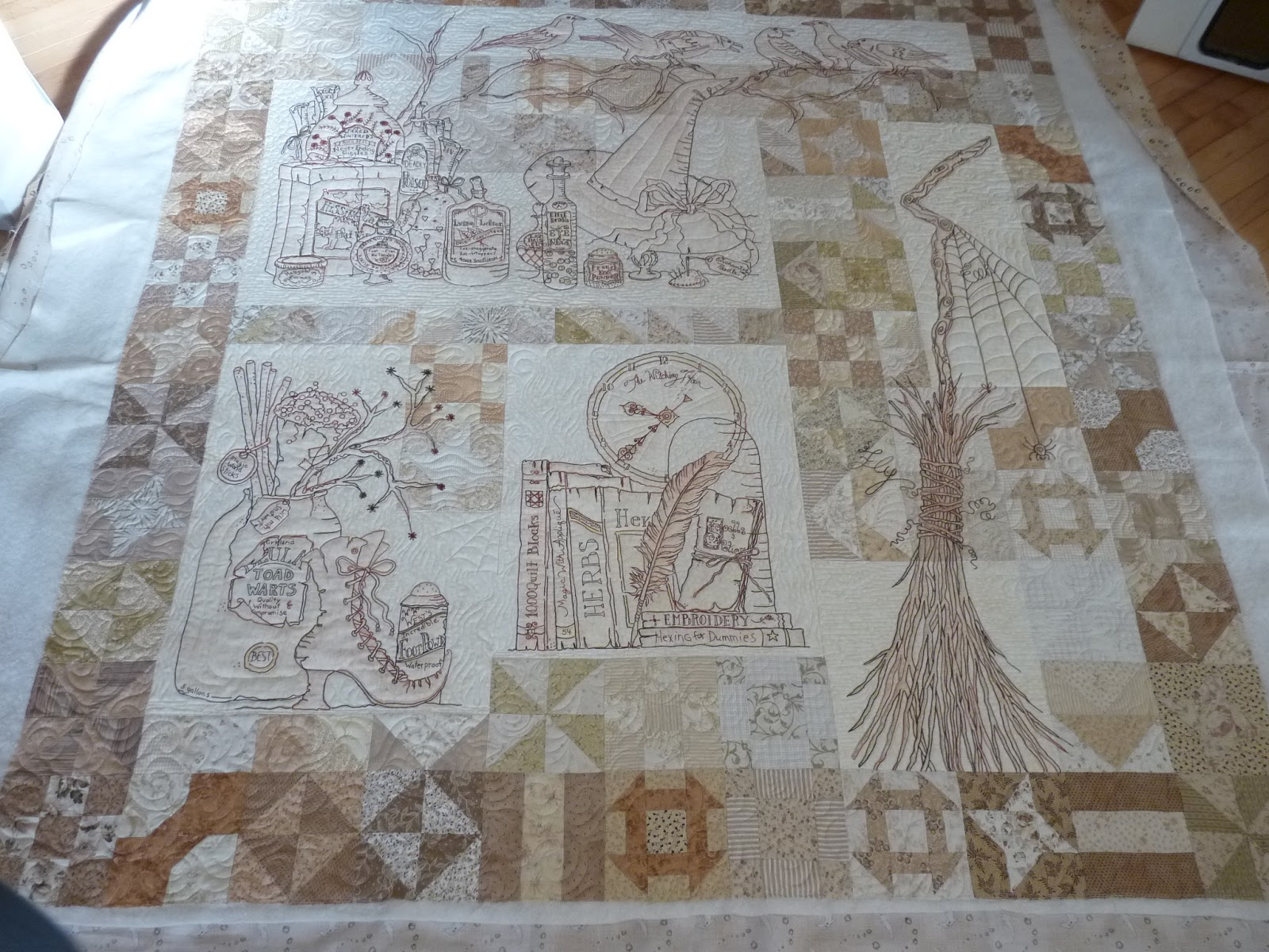 Sewing & Quilt Gallery: Calendula Embroidery Quilt : crabapple hill quilts - Adamdwight.com