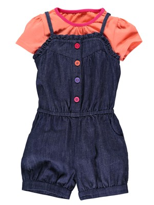 Ladybird Girls T-Shirt and Denim Chambray Playsuit
