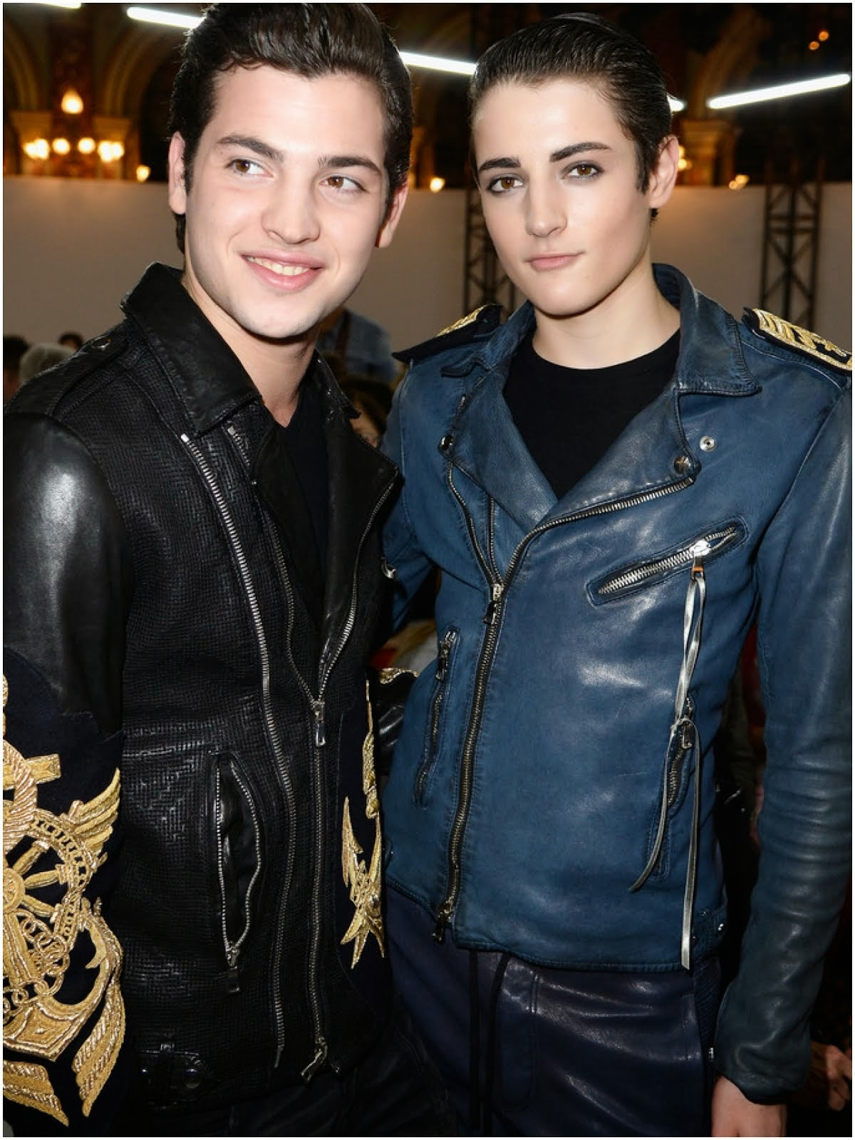 Harry Brant's Balmain Spring Summer 2014 washed leather jacket