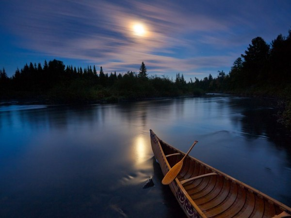 Moonlit Canoe, Allagash River