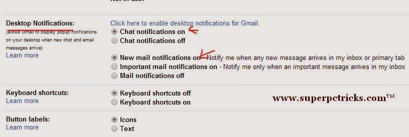 enable gmail desktop notifications chrome