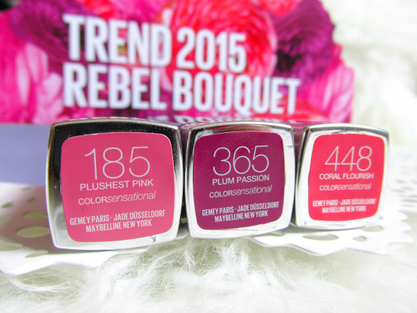 MAYBELLINE Color Sensational - Rebel Bouquet Lipsticks 185 Plushest Pink, 365 Plum Passion, 448 Coral Flourish