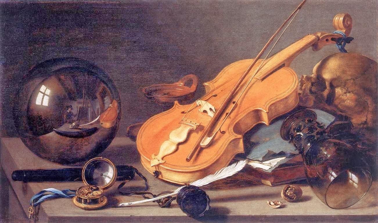 Vanitas with Violin and Glass Ball, ca. 1628