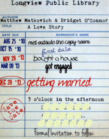 save the date library: Wedding Save The Date Card Idea: Library Cards   DIY Playbook