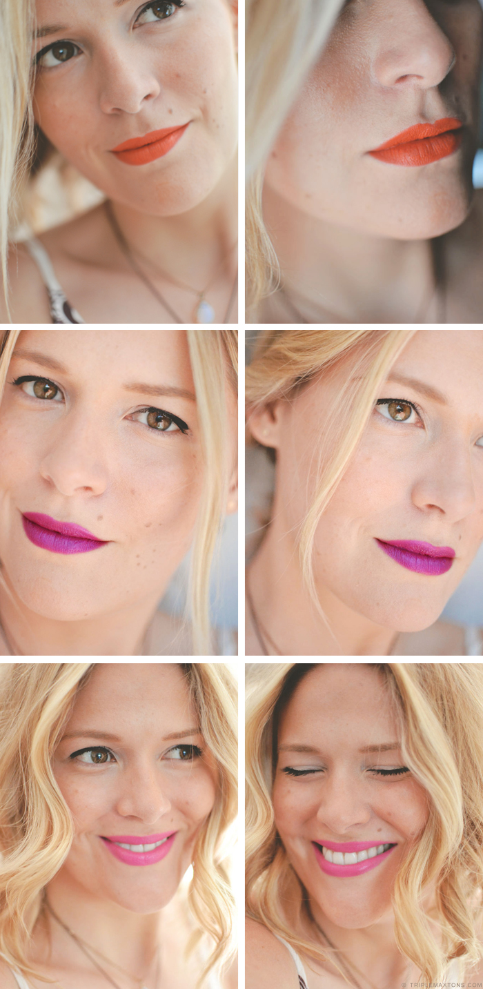 Milani Cosmetics Color Statement Lipstick in Sweet Nectar, Violet Volt, and Rose Hip via Triple Max Tons Blog Review
