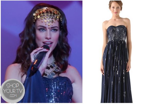 90210 season 5 episode 12 adrianna s blue sequinned maxi dress
