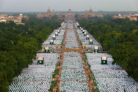 A view of Rajpath from the top of India Gate on the eve of International Yoga Day in New Delhi