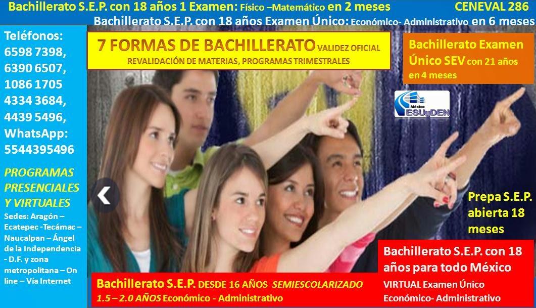 Contacto FB: Cesuyden D.F. Centro Bachillerato