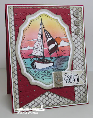 North Coast Creations Sail Away, ODBD Vintage Ephemera Designer Paper Collection, ODBD Custom Faithful Fish Pattern Die and Debossing Plate, ODBD Custom Elegant Ovals Dies, ODBD Custom Pennants Dies, Card Designer Angie Crockett