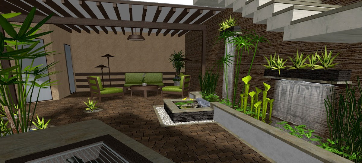 10 patios acogedores decoraci n de jardines peque os for Diseno de jardineras para patio