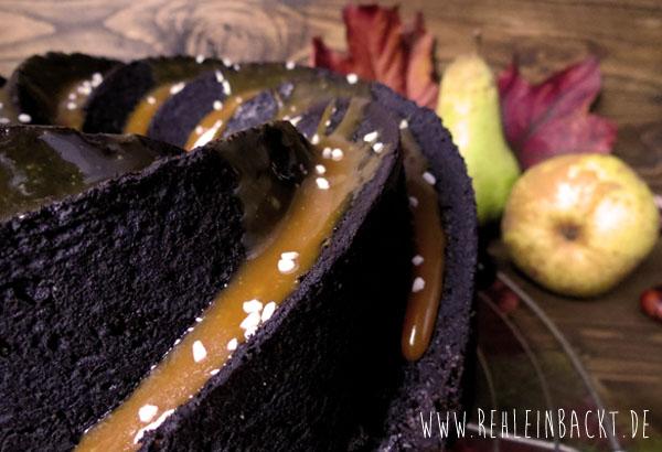 Zartbitter-Gugelhupf mit Birnen und Salzkaramell | Foodblog rehlein backt