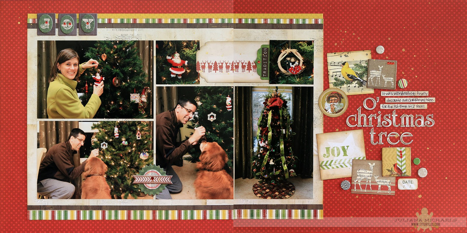 O Christmas Tree Scrapbook Page by Juliana Michaels featuring BoBunny Christmas Collage for the Scrapbook Generation CREATE Magazine - November 2014 Issue