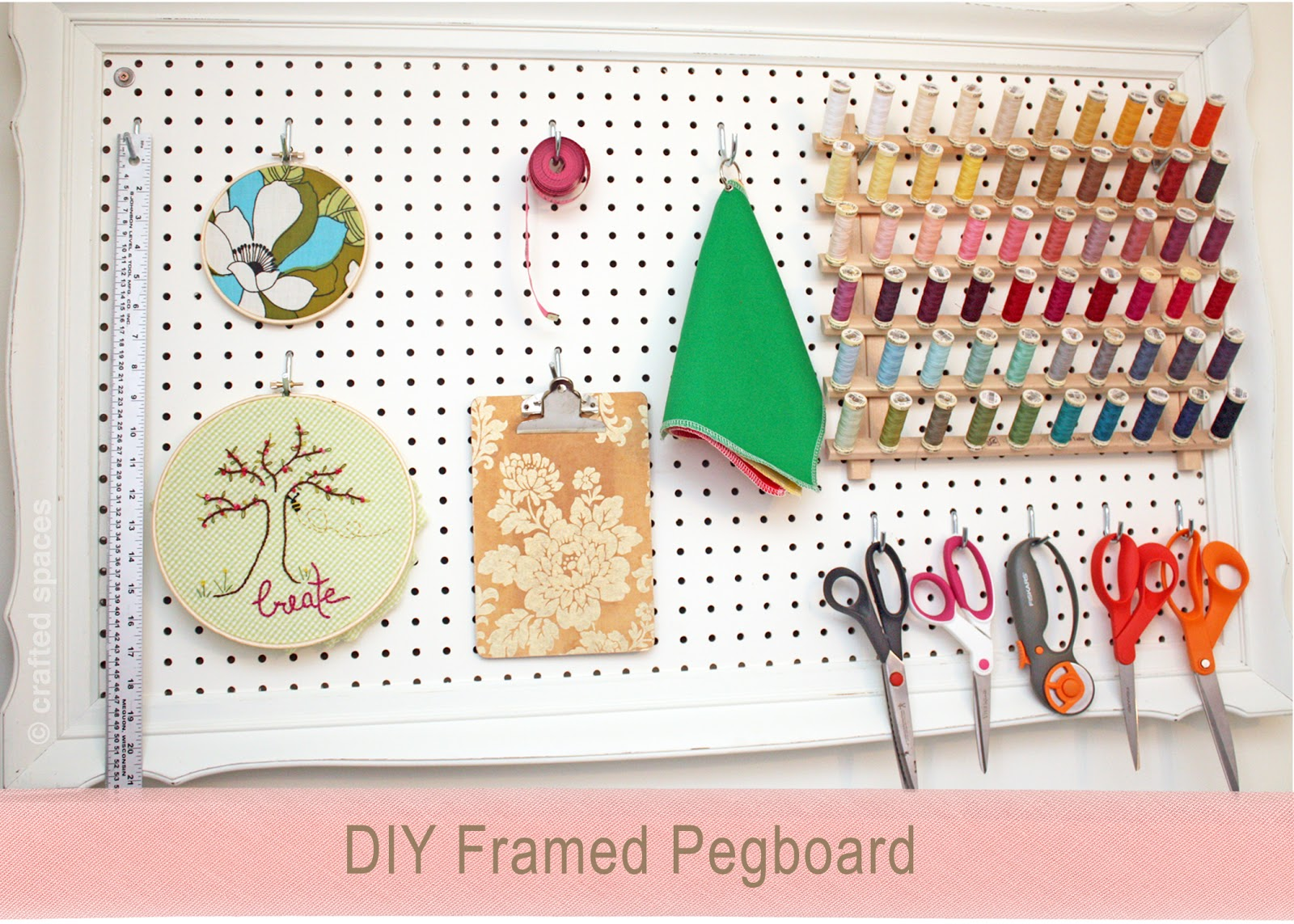 Crafted spaces diy pegboard wall organizer for Diy pegboard craft organizer