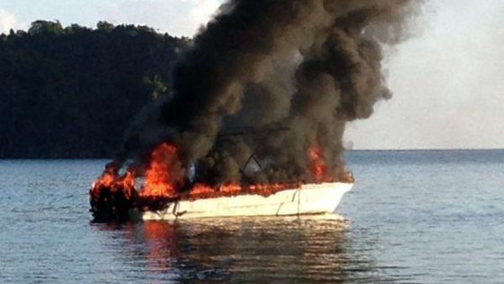 Aga Muhlach's speedboat explosion [Photo courtesy of inquirer.net]