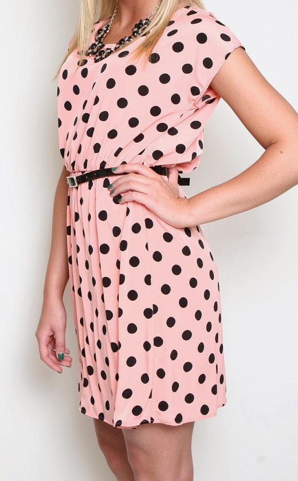 cute pink and black polka dot dress