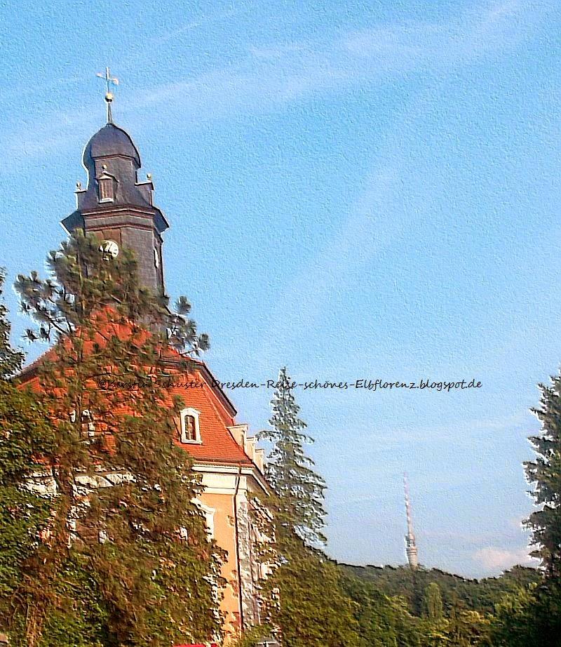 Loschwitz-Kirche mit Blickk auf den Dresdner Fernsehturm