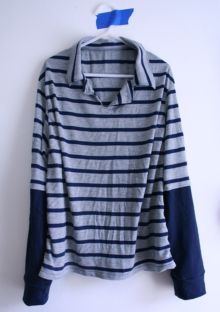Tangible Pursuits: Collared knit pullover shirt with double sleeves